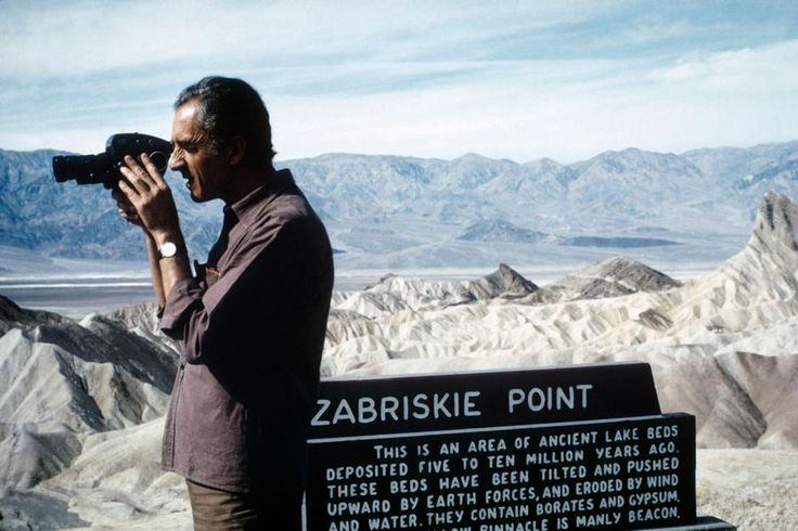 "USA. California. 1968. Italian film director Michelangelo ANTONIONI during the making of ""Zabriskie Point."""