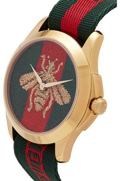 425c508fd4d Gucci - Canvas And Gold-tone Watch - Green