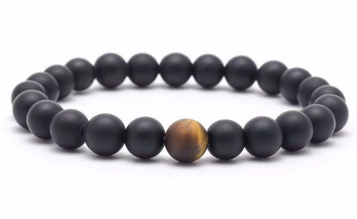 Mens Armbands – Bracelet mala onyx tiger eye – a unique product by Blackif on DaWanda