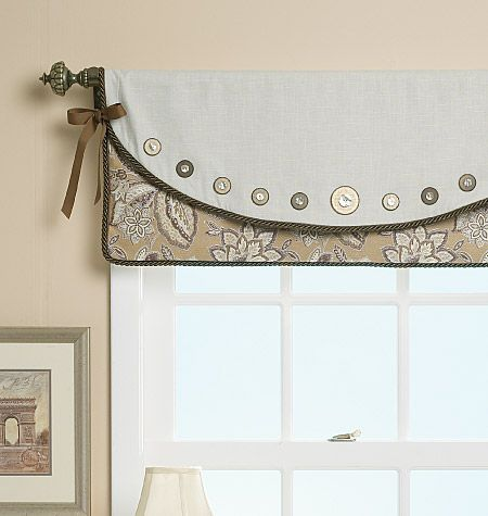 I love the button detail on this valance, as well as the fabrics.