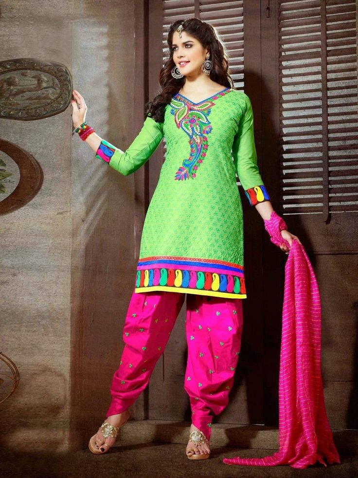 Cotton #patiala Unstitched salwar #kameez suit Dashing Pink & Green Patiala salwar kameez set with waistcoat. pair with matching dupatta.Salwar Include Dupatta fabric, Unless Specified. Available in 52% Discount @aimdeals