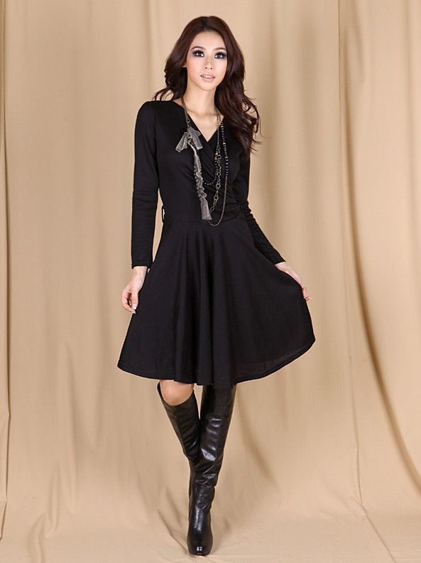 Cross V-Neck Long Sleeved Sexy Slim Casual Dress