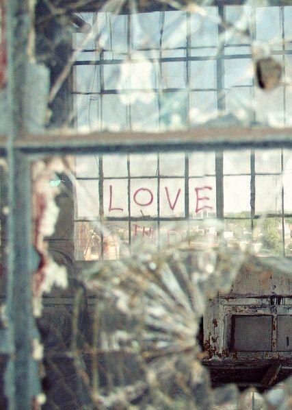 Detroit Love - 5x7 Fine Art Photography Print - abandoned urban reflection Valentine glass home decor photograph photo