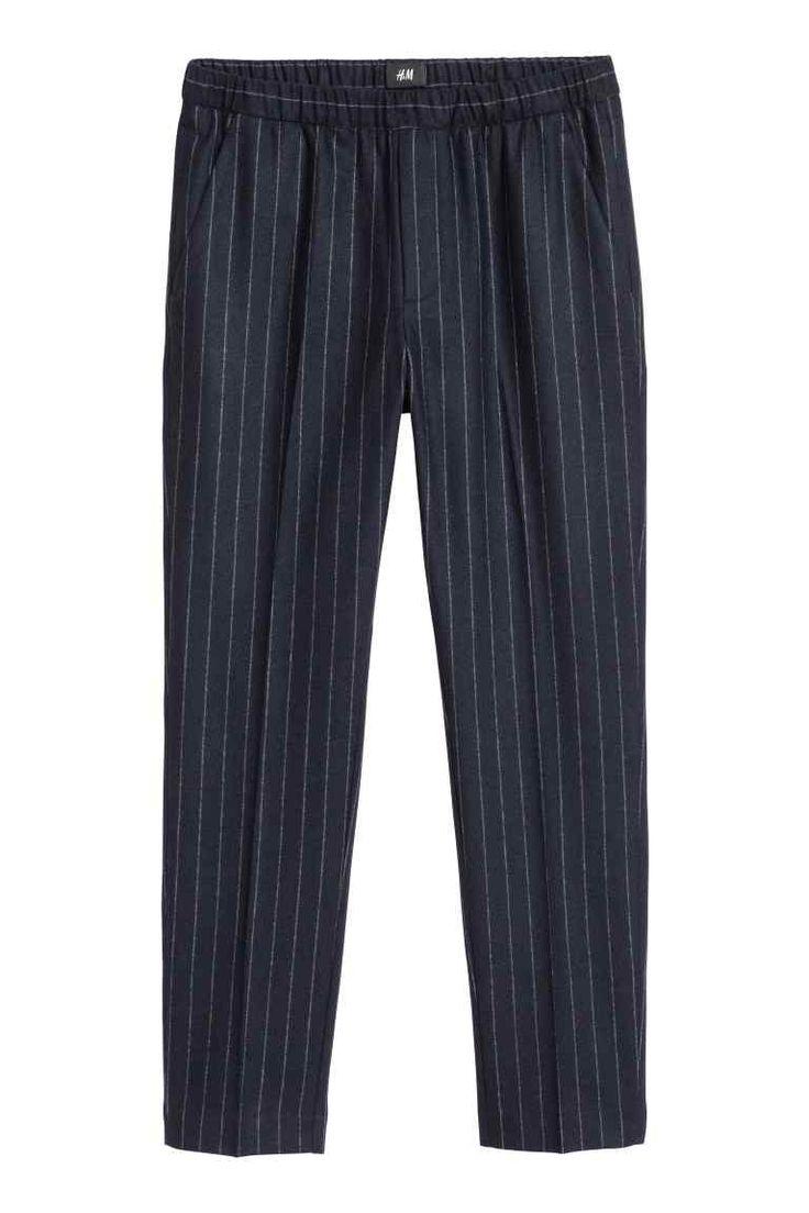 H&M | Pantaloni eleganti Slim fit - Blu scuro/bianco righe, taglia 50IT // 29,99€
