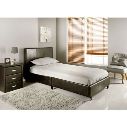 Torino Single Bed. Brown faux leather single bed with wooden sprung slats. To fit UK standard single mattress. Dimensions: W104 X D205 X H82cm (Approx.)