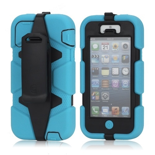 Wholesale Griffin Survivor Military Duty Belt Clip Holster Case for iPhone 5 - Black / Blue - iPhone 5 Hard Cases