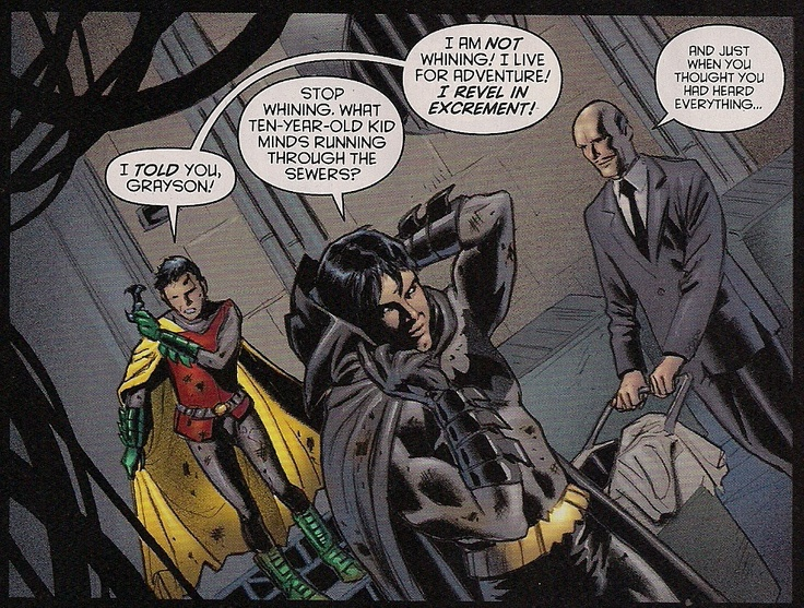Damian (Robin), Dick (Batman), and Alfred