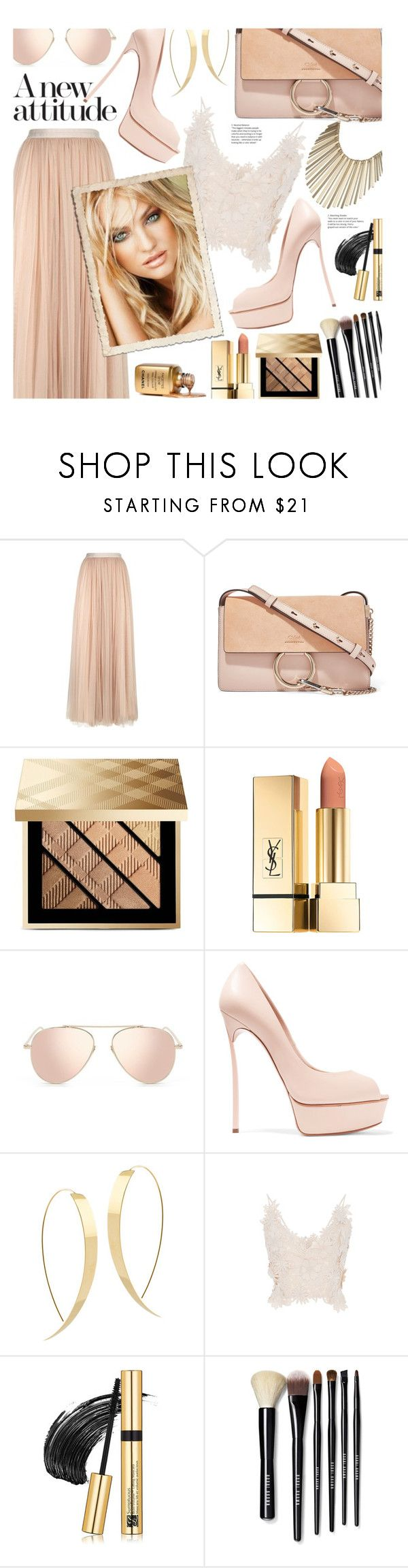 """Attitude!"" by ela79 ❤ liked on Polyvore featuring Needle & Thread, Chloé, Burberry, PUR, Casadei, Lana, Johanna Ortiz, Estée Lauder, Bobbi Brown Cosmetics and Jennifer Lopez"