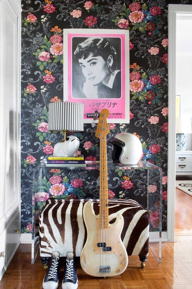 Playful wallpaper prints and adventurous colors, which might normally be overwhelming, add welcome intrigue to these smaller areas | archdigest.com