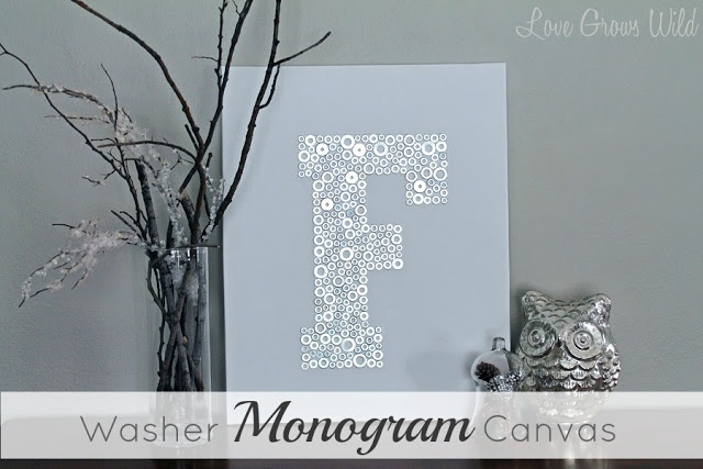 tutorial - DIY monogram canvas with washers from hardware store