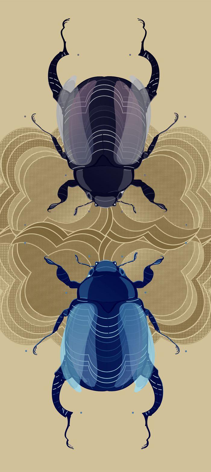 A conversation between magical #beetles | #print #insectarium #botanical @oozefina