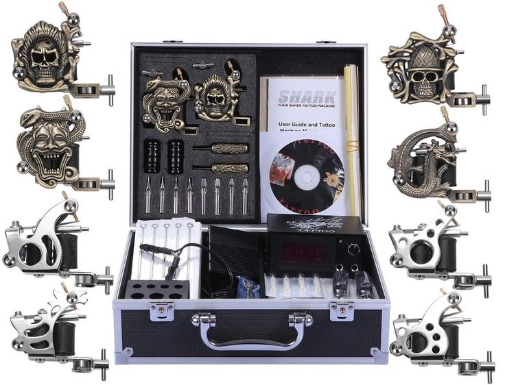 Shark® Complete Pro Tattoo Kit 8 Gun Machines Carry Case With Key Power Supply  #Shark