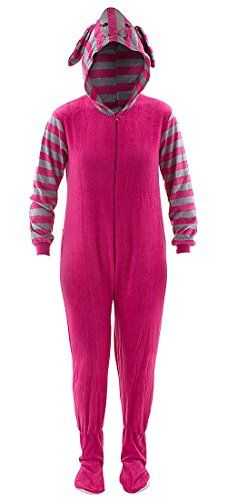 Pink Bunny Striped Hooded Footed Pajamas for Women M -- You can get additional details at the image link.(This is an Amazon affiliate link and I receive a commission for the sales)