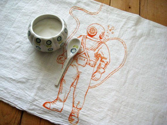 Screen Printed Organic Cotton Flour Sack Tea by ohlittlerabbit, $8.00