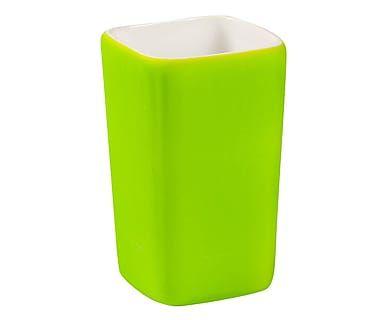 Bicchiere portaspazzolini in porcellana gommata TouchMe verde - h 11 cm