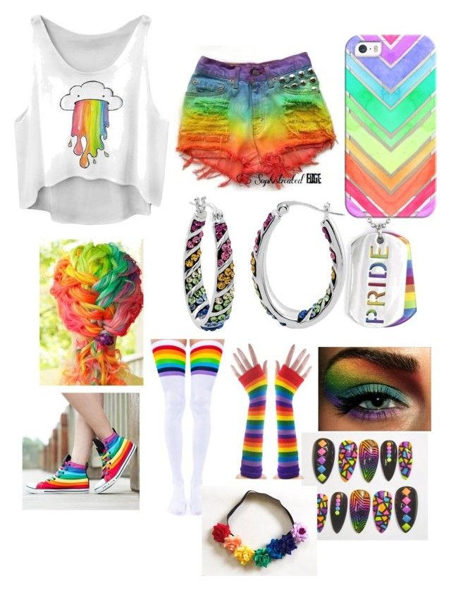 """""""RAINBOW for Halloween"""" by tony-romo-rocks ❤ liked on Polyvore featuring Casetify, West Coast Jewelry and Leg Avenue"""