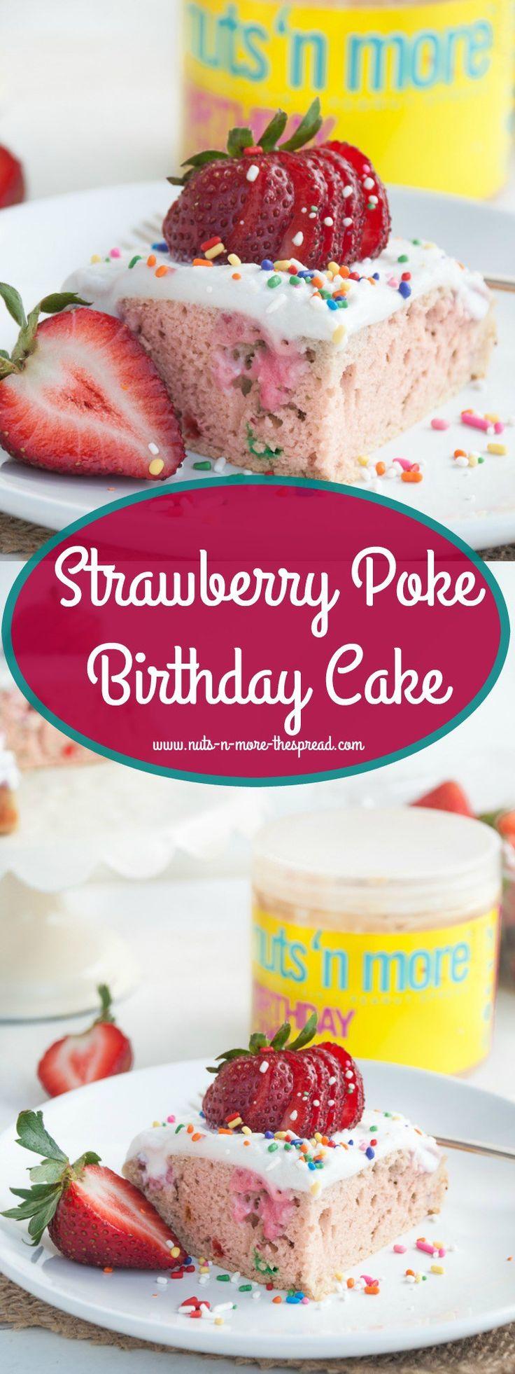 Strawberry Poke Birthday Cake Peanut Butter