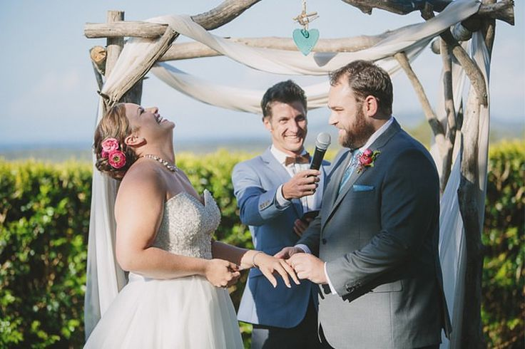 Alicia & Evan's epic Fig Tree Restaurant & Rooms wedding spam! Evan must have said something funny!! Styling such good times with these two lovebirds!  Pics Possum Creek Studios Florals Elyssium Blooms Styling The Wedding Shed Coord Byron Bay Weddings