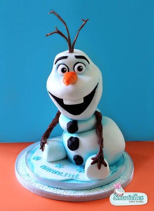 3D sitting Olaf cake from Frozen - SmartieBox Cake Studio