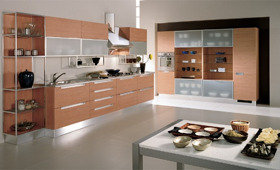 kitchen with open shelves. glass panes. #scavolini #kitchen