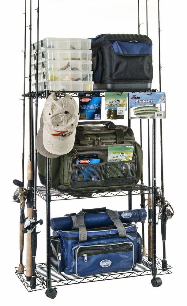 Fishing 12-Pole ReelTackle Adjustable Rack WHEELS Organized Storage Bait Lures