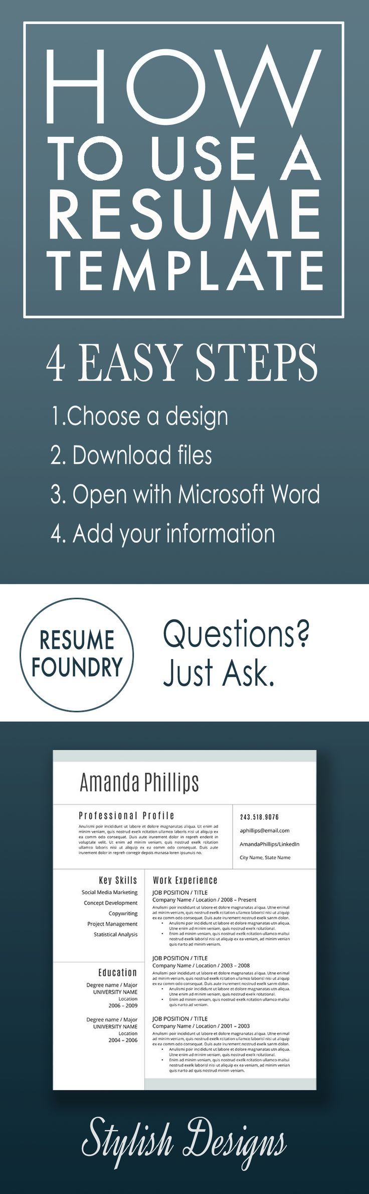 131 Best Resume Templates - Etsy Images On Pinterest | Cover Letter