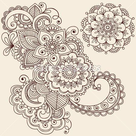 garabatos de tatuaje de henna mehndi vector elementos de diseño — Vector stock © blue67 #8693168