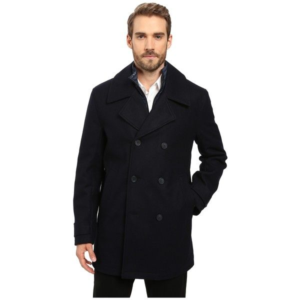 Marc New York by Andrew Marc Cushing Pressed Wool Peacoat w/ Removable... ($210) ❤ liked on Polyvore featuring men's fashion, men's clothing, men's outerwear, men's coats, mens quilted coat, mens double breasted pea coat, mens double breasted wool coat, mens fur lined coat and mens wool coat