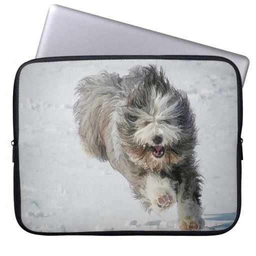 Bearded collie running in the snow neoprene laptop sleeve