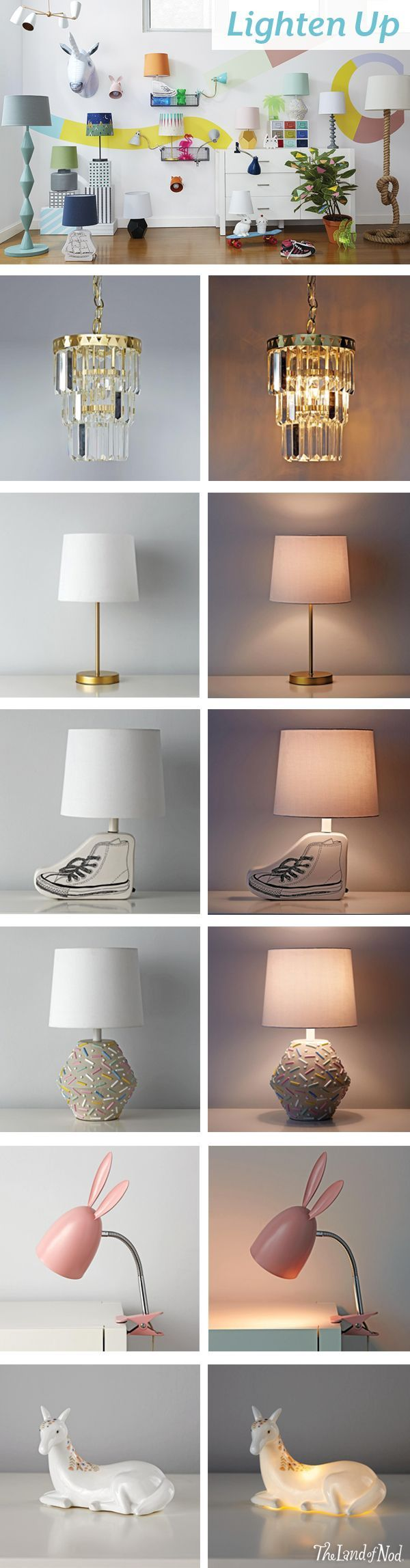 Brighten up your kids bedroom with The Land of Nod's collection of kids lamps. From ceiling lamps and floor lamps to table lamps and nightlights, we have tons of stylish and modern lighting to deck out your home.