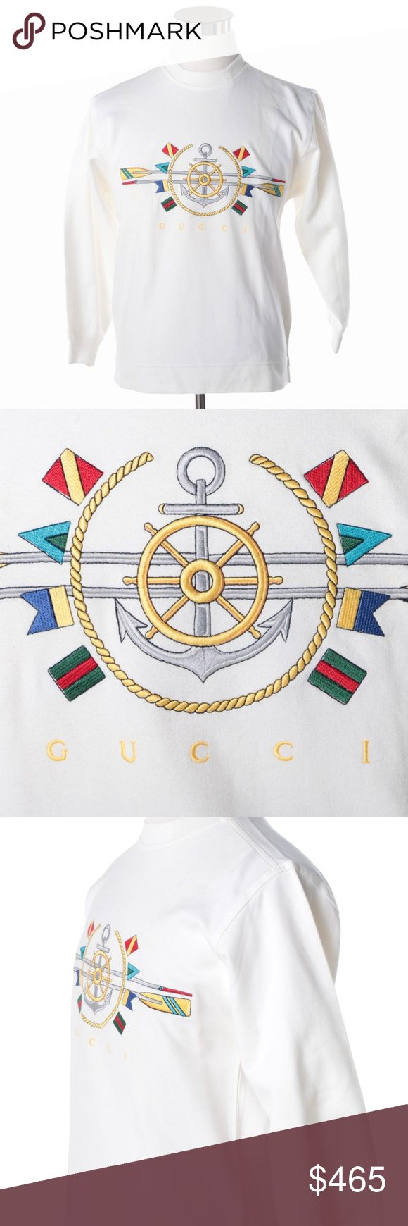 "NWT VINTAGE GUCCI Crewneck, Sweatshirt, White A Gucci white sweatshirt. The 100% cotton sweatshirt has a crew neck and includes a colorful embroidered nautical motif and ""Gucci"" in yellow letters. The maker's label and hang tags are present to the interior.  CONDITION  Good  Has attached hang tags.  If you hold it up to light you can see a small discoloraton but it's not visible from the outside or when on.   Size: Small Gucci Sweaters Crew & Scoop Necks"