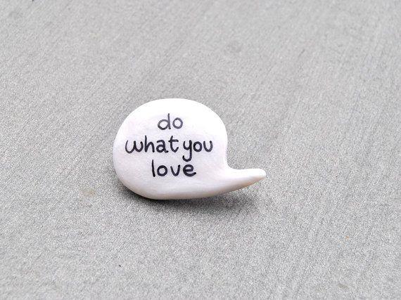 white polymer clay brooch speech bubble love. €12,00, via Etsy.