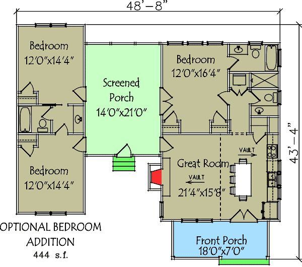 Plan 92318MX  3 Bedroom Dog Trot House Plan862 best Home images on Pinterest   Small house plans  House floor  . Home Designs Plans. Home Design Ideas