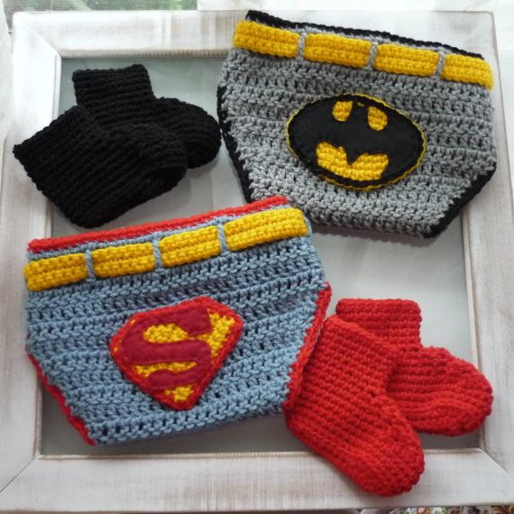 Newborn Photography Prop Superman or Batman Diaper Nappy Cover and Booties  set a43d0e700949f