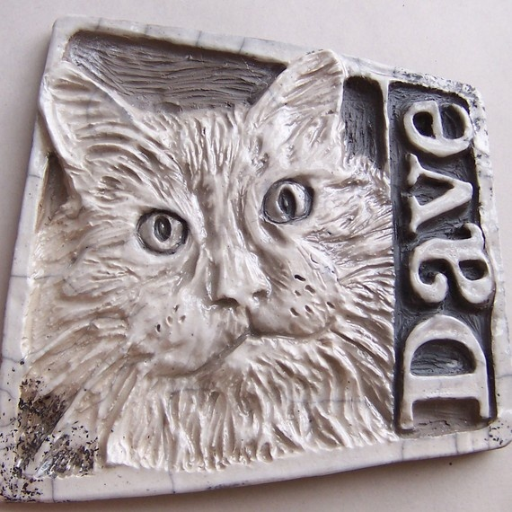 Custom portrait tile clay relief hand carved cats