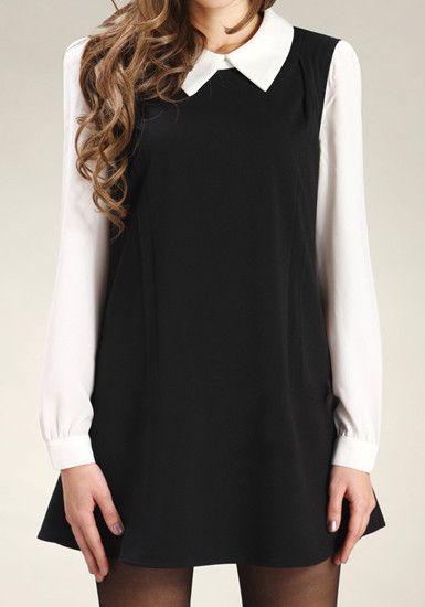 Color Block Cambric Dress - Black @LookBookStore