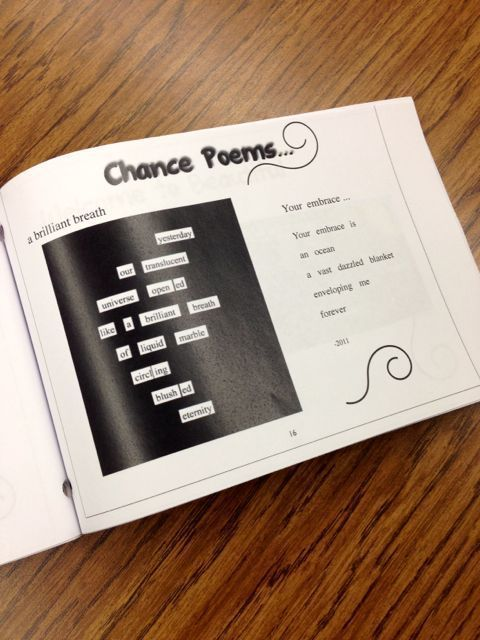Model all types of writing for students: shown, chance poems