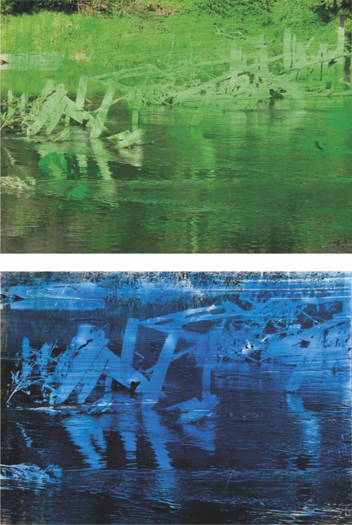 Sul bordo del fiume 2013 - pigmenti e resine su fotografia - cm. 12x18 ciascuna - Ferrarin Arte - Spazio Eventi