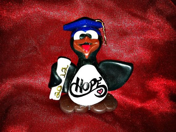 Personalized Graduation Guin With Blue Glitter Cap! Designed & sculpted with no molds used by WynsomeCreations, $26.00