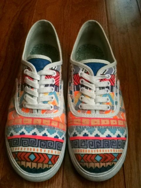 DIY tribal shoes! Sketch with pencil and color over with fabric markers.