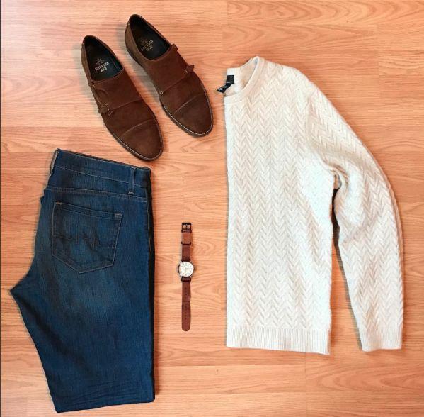 Sweater: @hm Denim: @sebastianmccalljeans Shoes: @justamenshoe Watch: @timex x @toddsnyderny