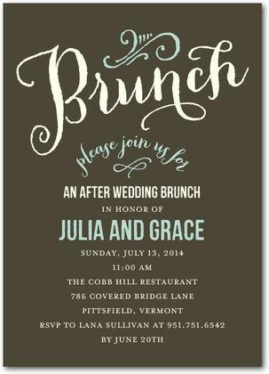 after wedding brunch invitations at last front dark gray i want