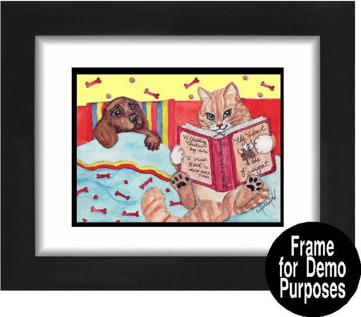 Funny cat and dog art print or blank greeting card.  Title: The Bedtime Story: The Howl and the Pussycat Babysit the puppy,  the family said. Itll be fun, they told Samson the Cat. Well, it wasnt fun. At least it wasnt, until it was time to read little Andy a bedtime story. Samson found just the right book: The Howl and the Pussycat - A Chilling Thriller said Dog Tales and a Must Read said The Mew York Times. Blank greeting card printed on heavy high-gloss paper with a matte finish inside…