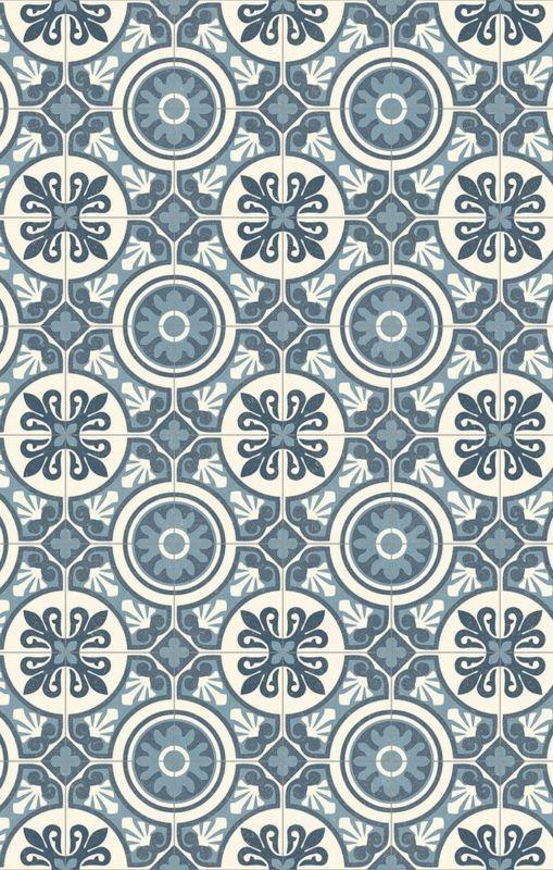 PVC (14€/m²) CV Bodenbelag Bfl/S1 Retro Design grau blau 200 cm Boden