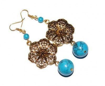 Kolczyki Złote Kwiaty z Turkusami #earrings #kolczyki