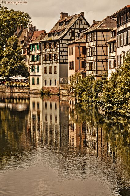 Strasbourgh, France was started in 12 B.C. It grew out of a Roman military camp.  Place Gutenberg is so named because Gutenberg invented his movable type here. Located in the Alsace region near the German border, the city has been under both German and French control at one time or another.