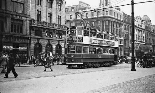Dublin 50s - trams on O'Connell Street