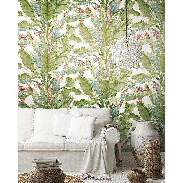 Wellsville Banana Leaf 20 L X 27 W Peel And Stick Wallpaper Roll Banana Leaf Wallpaper Wallpaper Roll Leaf Wallpaper