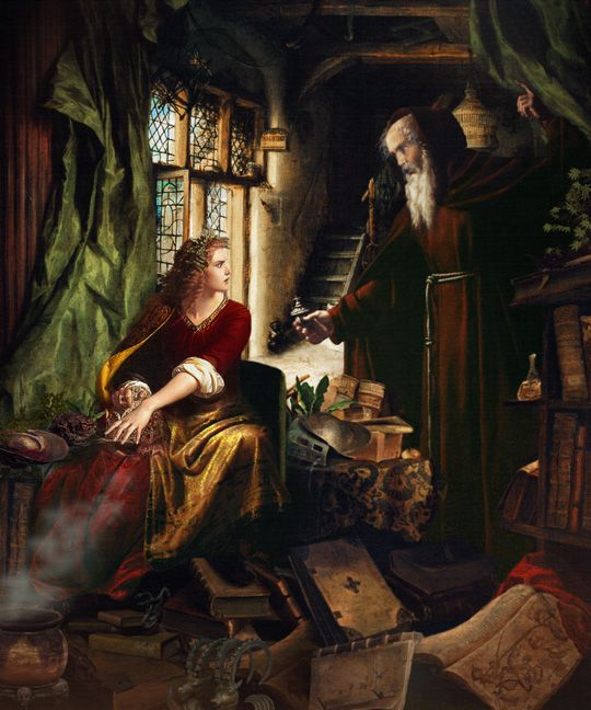 """""""The Education of Morgan Le Fay"""", from King Arthur & the Knights of the Round Table; Paintings of the Arthurian legends by Howard David Johnson"""