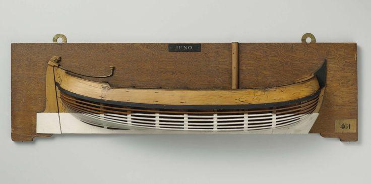 Anonymous | Halfmodel van een jacht, Anonymous, 1780 - 1820 | Mallenmodel (stuurboord) van een eenmast platbodem jacht. De huid boven het barkhout is gesloten. Het achterdek is iets verhoogd. Rond achterschip, breed roer met versierde roerkop en helmstok over dek. De zeeg loopt naar beide uiteinden op, één barkhout.